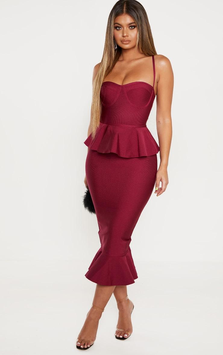 Berry Strappy Peplum Frill Hem Bandage Midi Dress 4