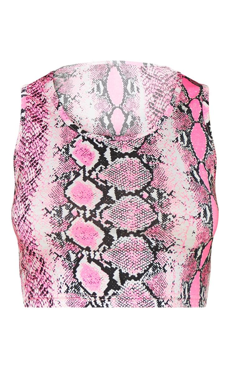 Basic Pink Snake Scoop Neck Crop Top 3