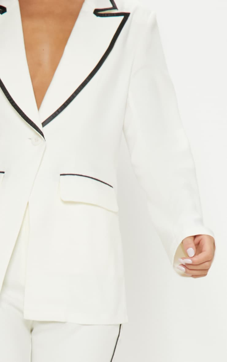 Cream Contrast Trim Blazer 5