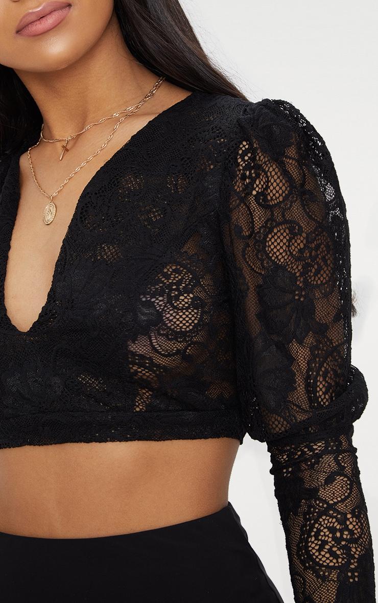 Black Lace Plunge Puff Shoulder Crop Top  5