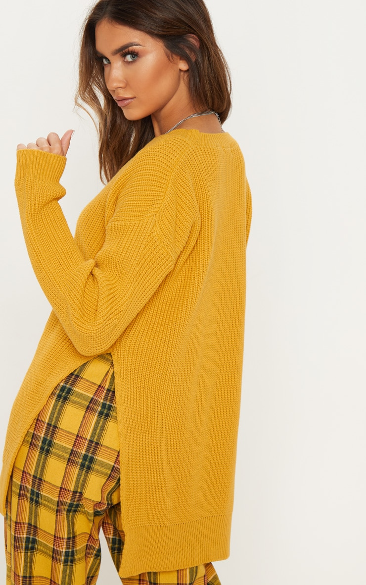 Rexx Mustard Round Neck Side Split Sweater 2