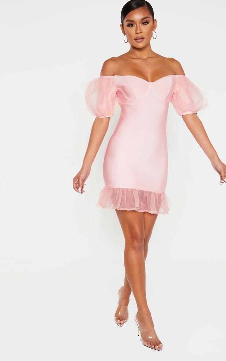 Blush Bandage Chiffon Frill Puff Sleeve Bodycon Dress 3