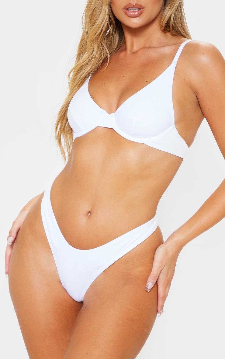 White Mix & Match Thong Bikini Bottom 1