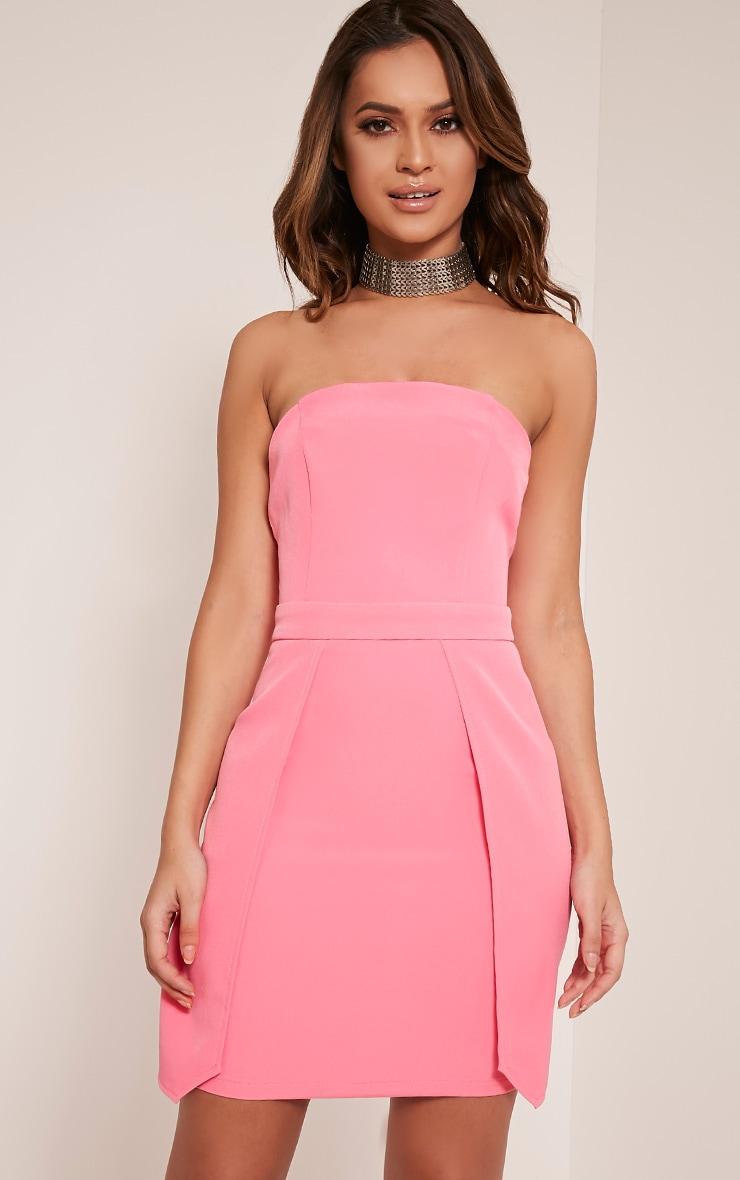 Jonna Bubblegum Pink Crepe Bandeau Mini Dress 1