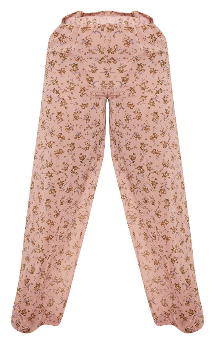 Plus Dusty Pink Sheer Chiffon Floral Ruched Waist Wide Leg Pants  3