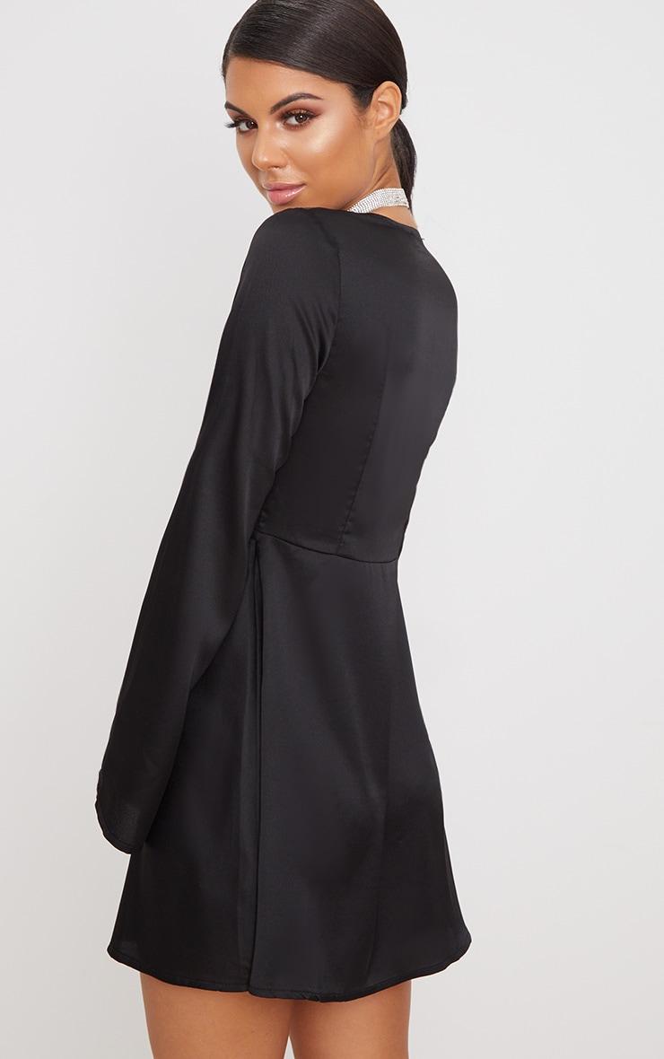 Black Satin Flare Sleeve Knot Detail Plunge Skater Dress 2