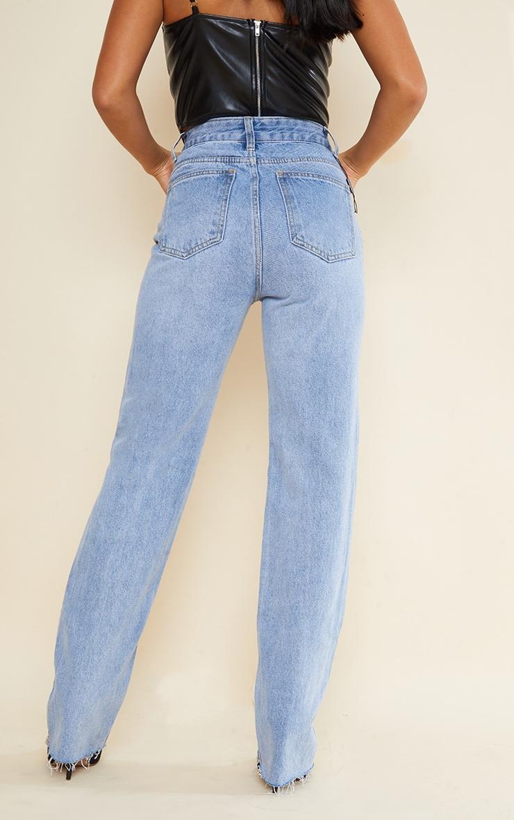 PRETTYLITTLETHING Petite Light Blue Wash Long Leg Straight Jeans 3