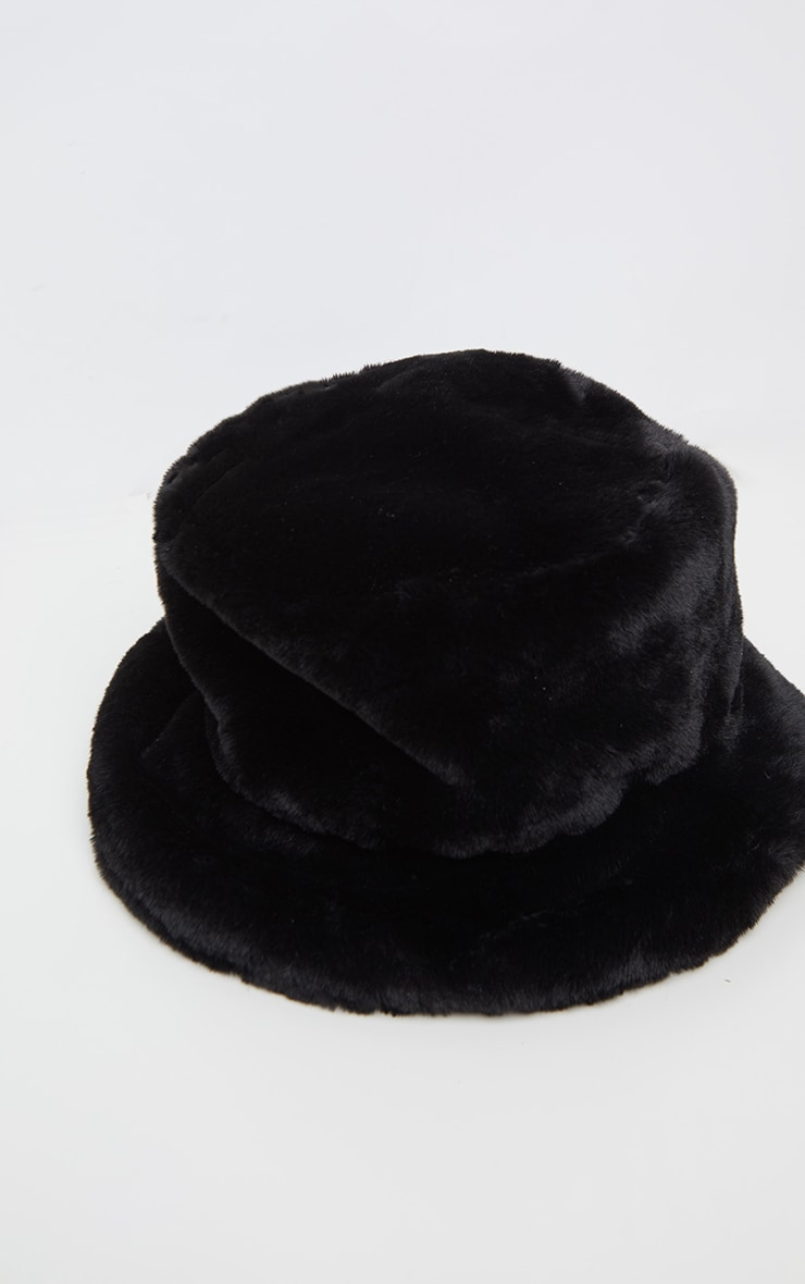 Black Faux Fur Bucket Hat 3