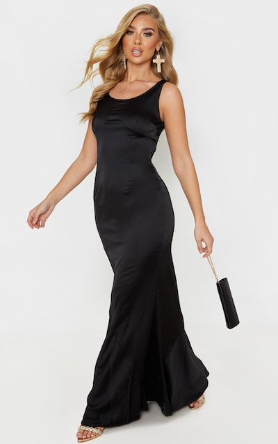 Black Satin Cup Detail Sleeveless Maxi Dress