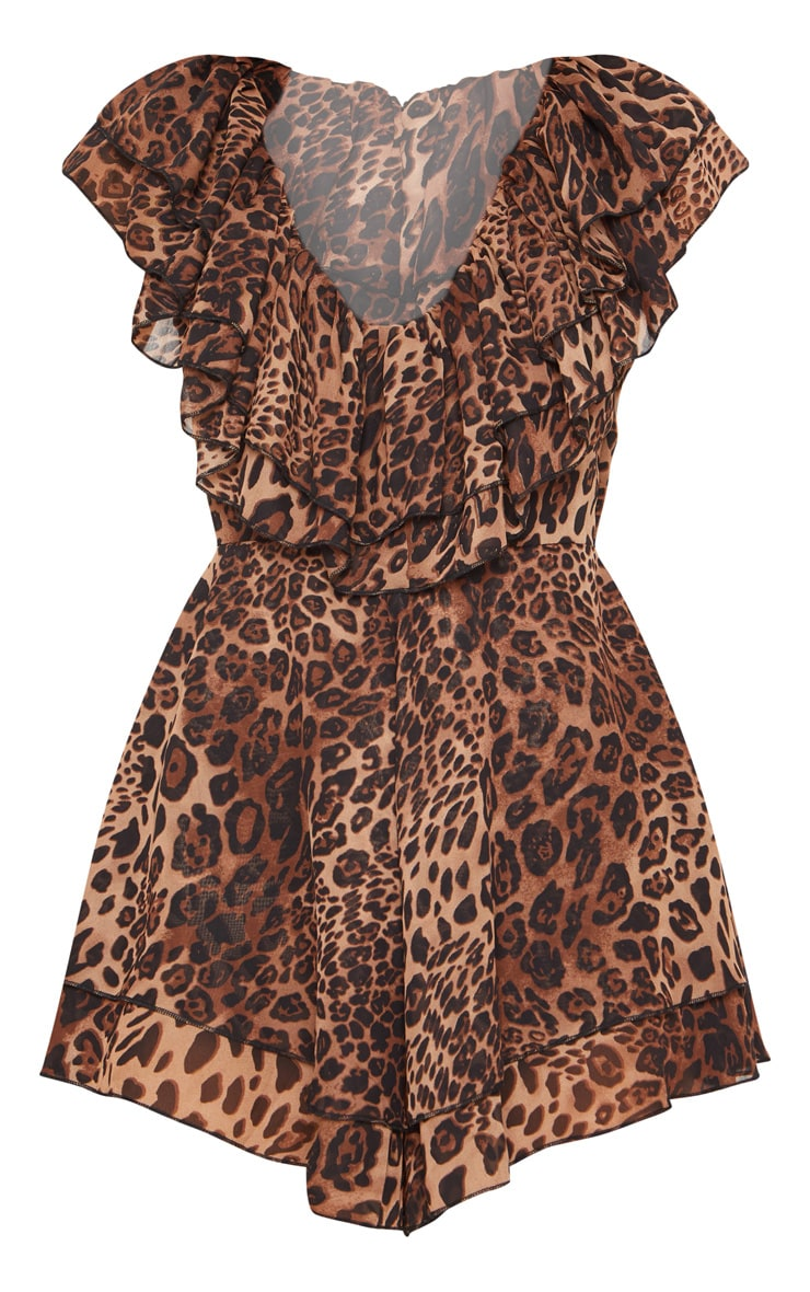 Tan Leopard Frill Plunge Playsuit 3