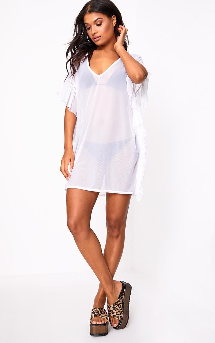 White Mesh Frill Deep Plunge Beach Cover Dress 4