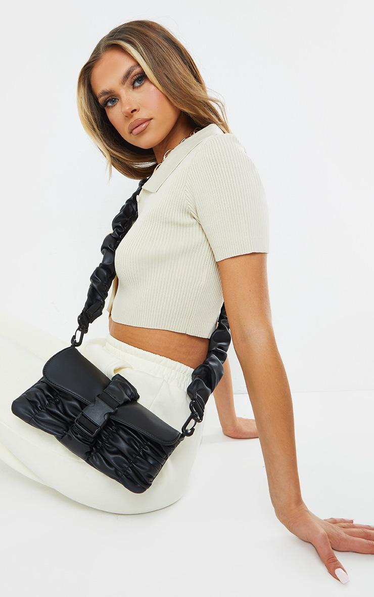 Black Ruched PU Cross Body Bag 1