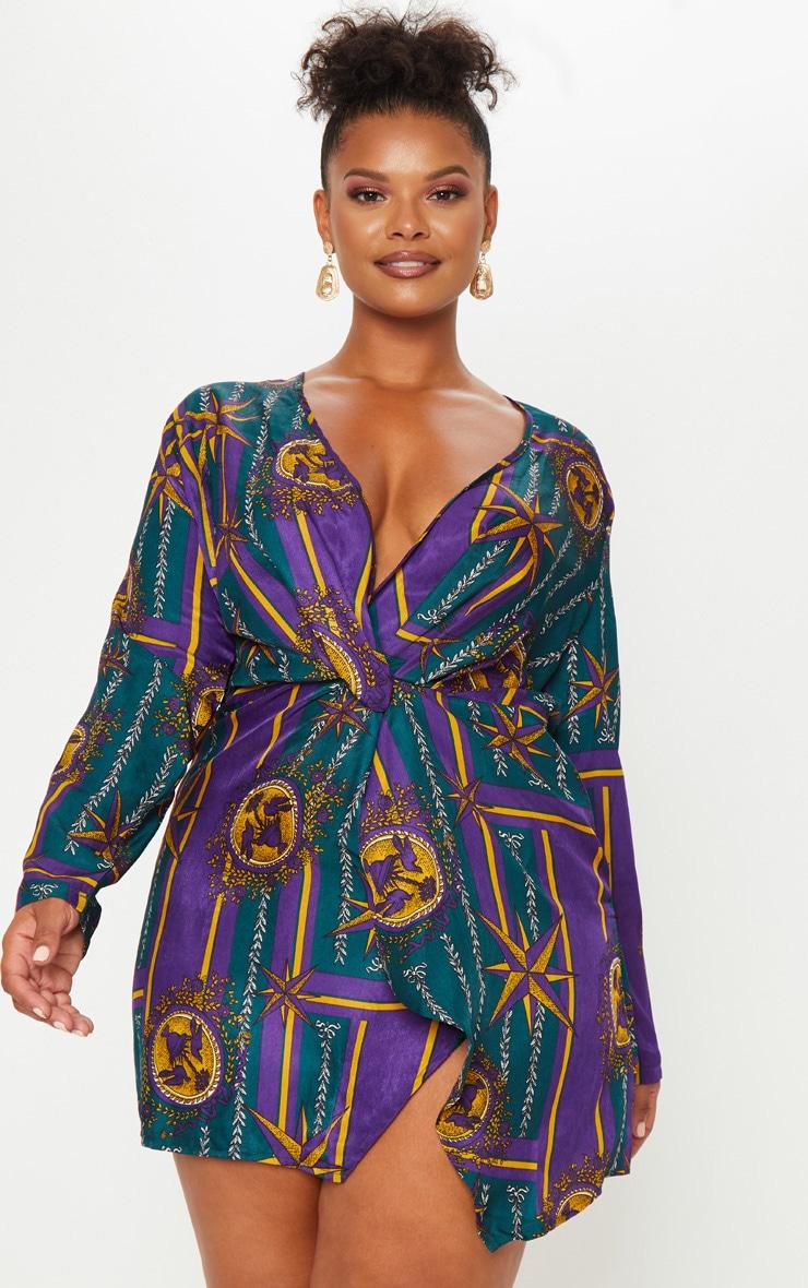 Plus Purple Printed Long Sleeve Wrap Dress 1