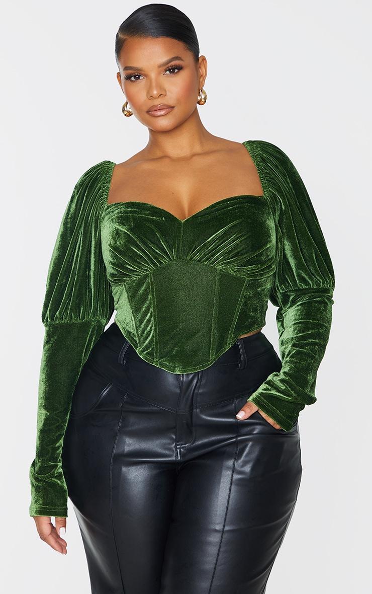 Plus Emerald Velvet Puff Sleeve Corset Top 3