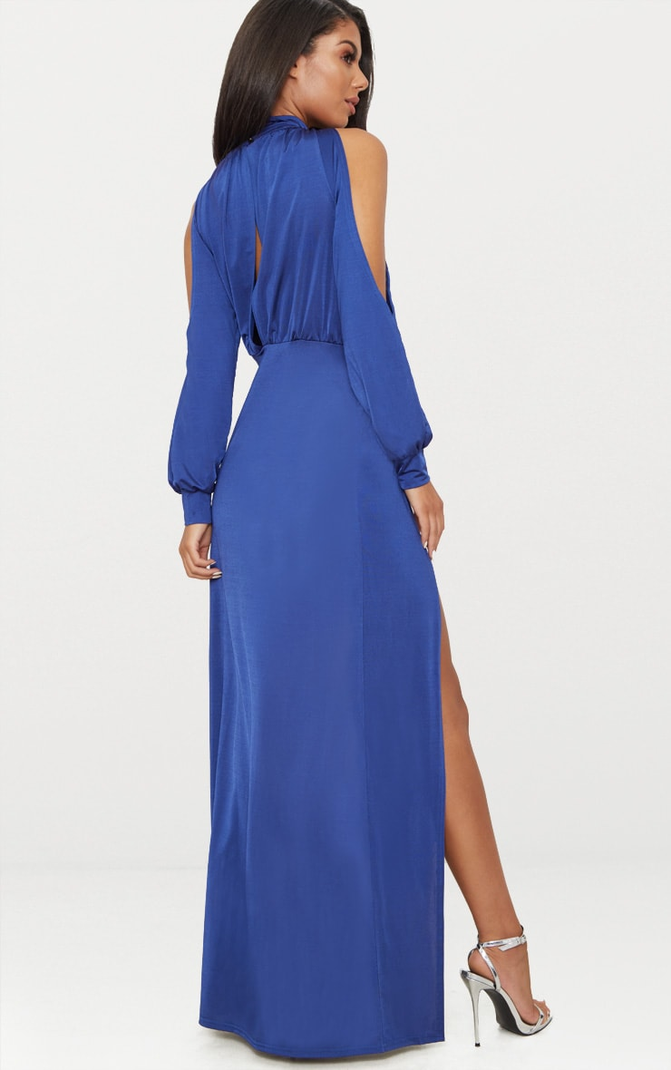 Navy High Neck Double Extreme Split Maxi Dress 2