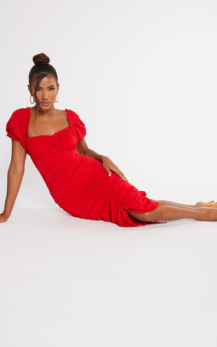 Red Broderie Anglaise Ruched Centre Bardot Midi Dress 3