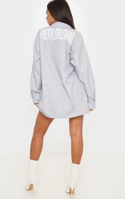 PRETTYLITTLETHING White Slogan Pinstripe Oversized Shirt Dress