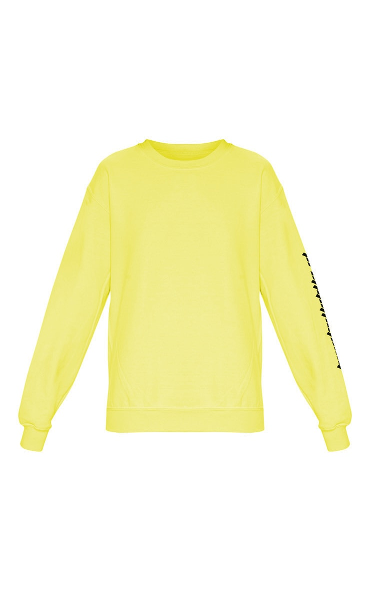 PRETTYLITTLETHING Lime Slogan Sweater 3