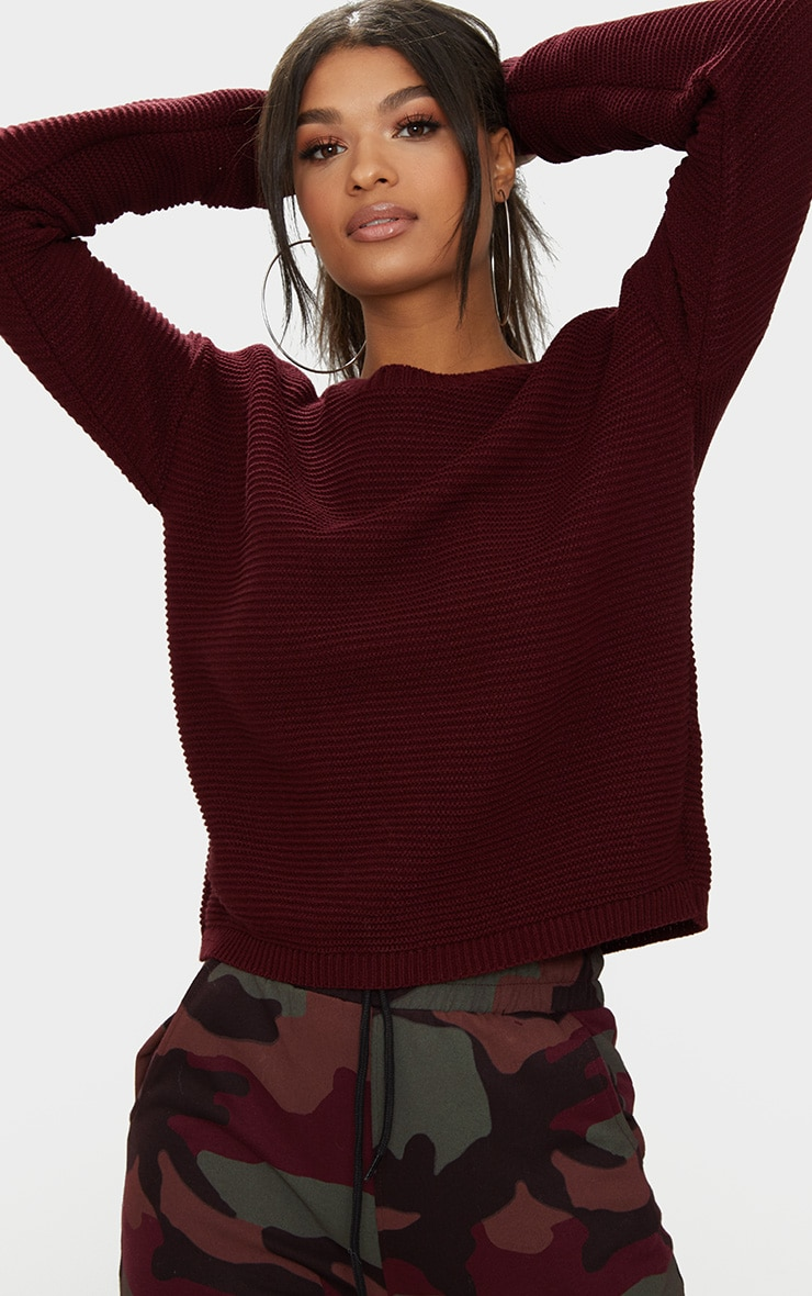 Burgundy Rib Crop Jumper 1