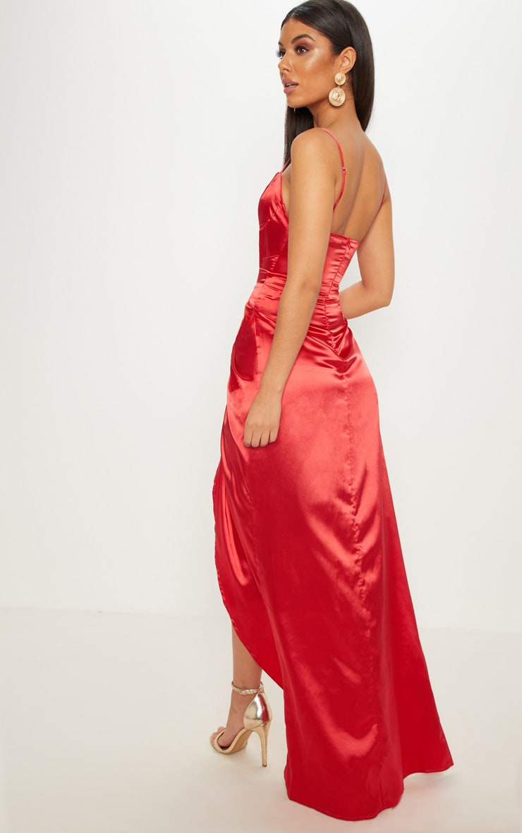 Red Satin Corset Ruched Maxi Dress 2