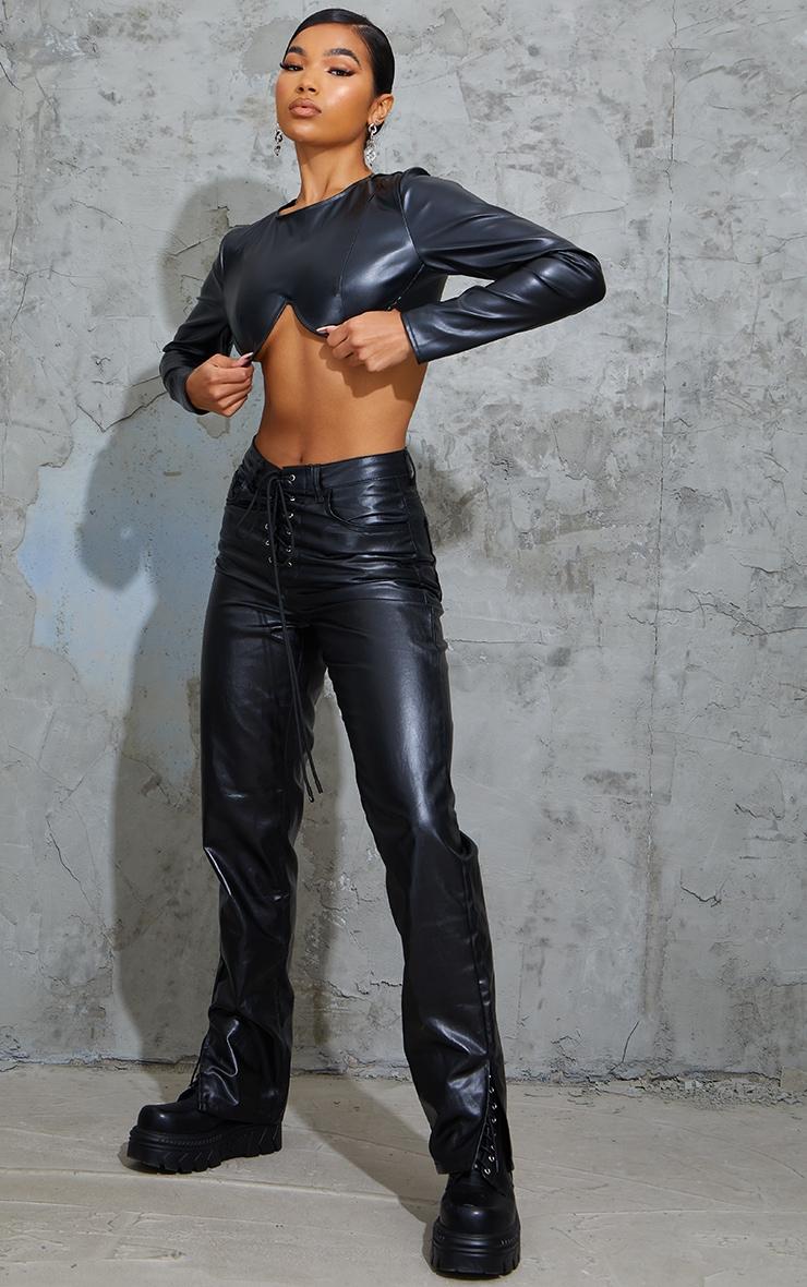Black Lace Front Coated Split Hem Jeans 1