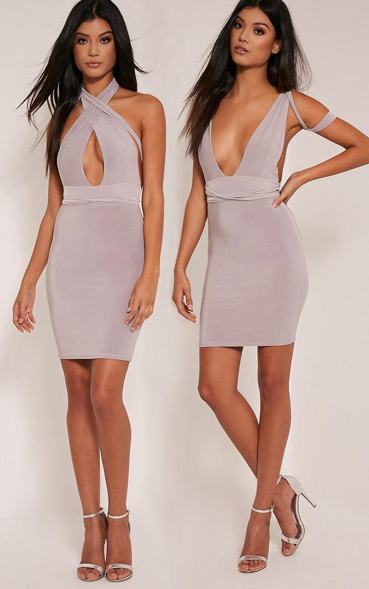 Lidia Grey Multiway Bodycon Dress 1