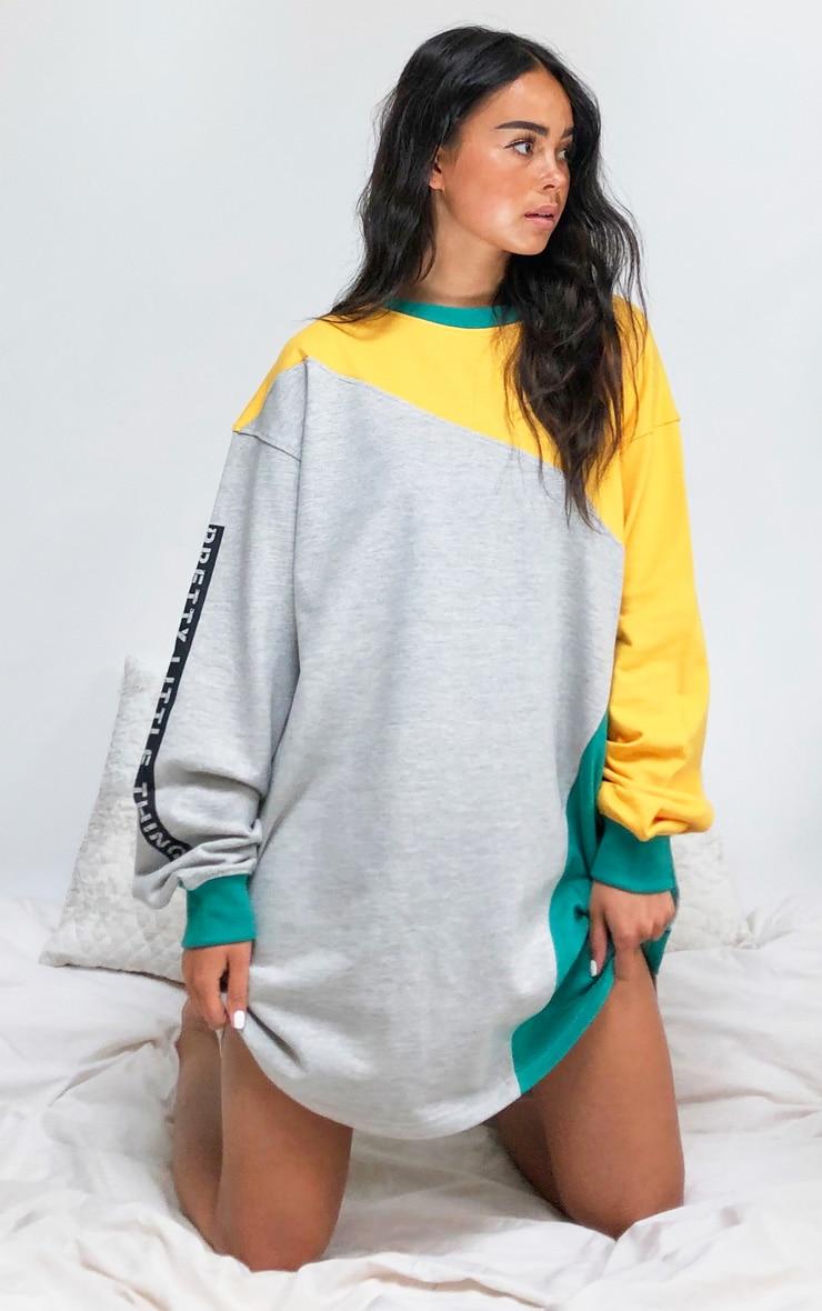 Multi Asymmetric Colour Block Sweat Jumper Dress 3