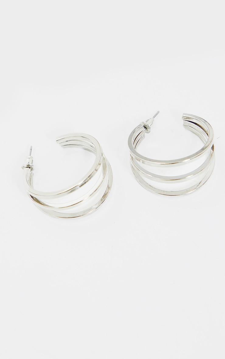 Silver Double Cut Out Hoop Earrings 3