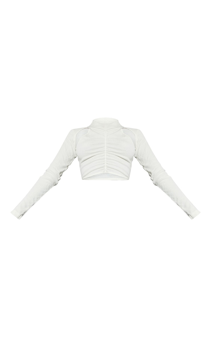 Tall Cream Ruched Ribbed  Front Crop Top 5