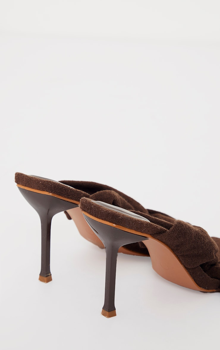 Chocolate Towelling Square Toe Knot Detail High Heeled Mules 4