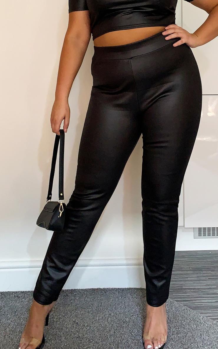 Plus Black Wet Look Skinny Trouser 2