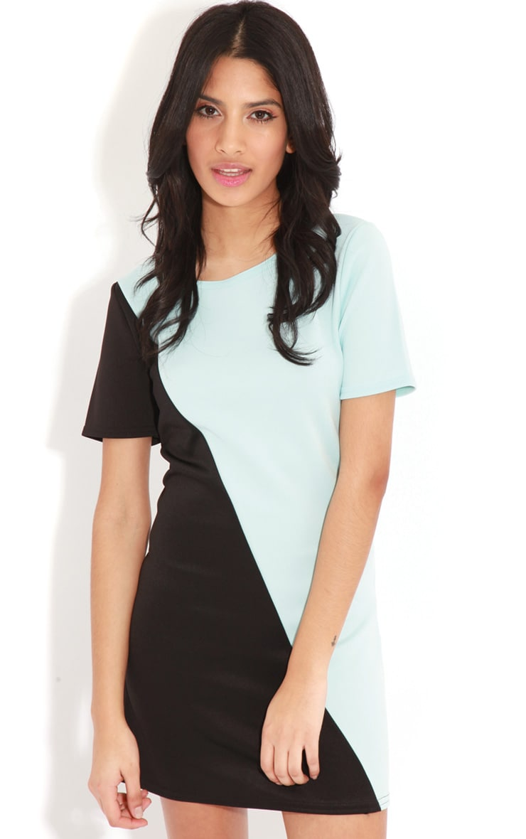 Jadie Black & Blue Scuba Dress 4
