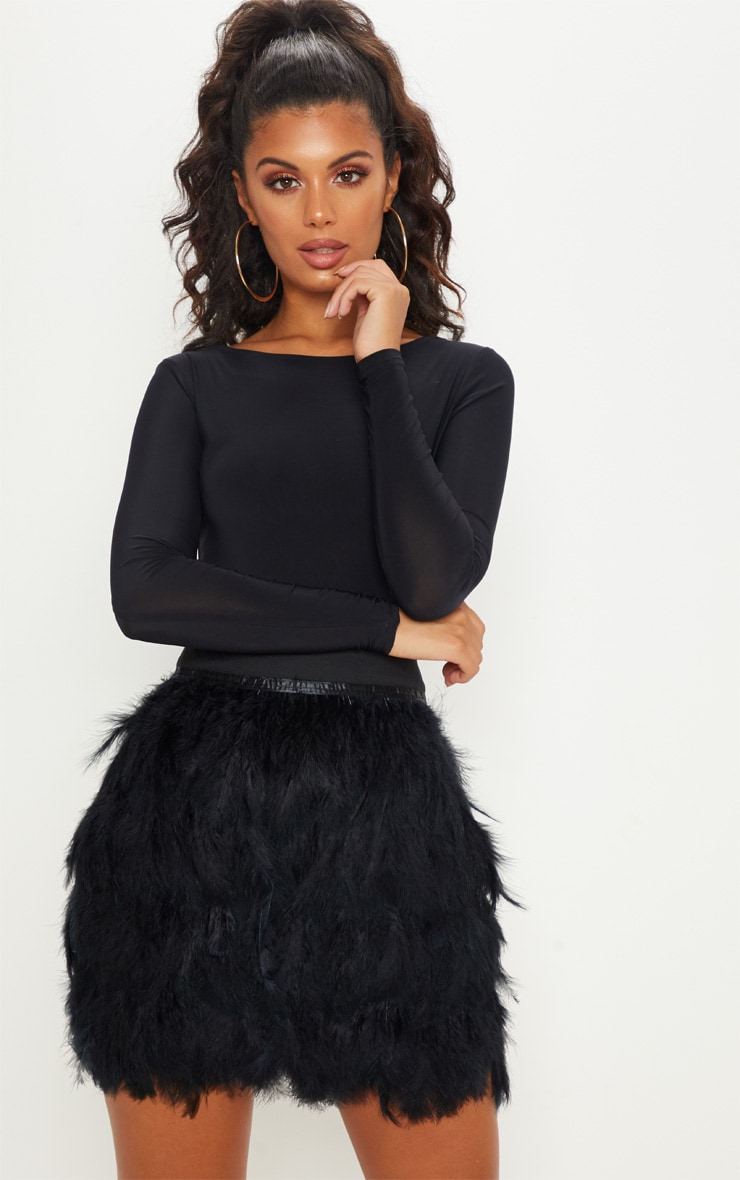 Black Tiered Feather Mini Skirt 1