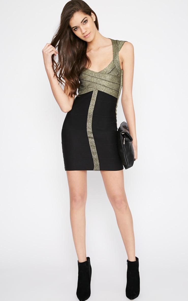 Koren Black and Gold Bandage Dress 3