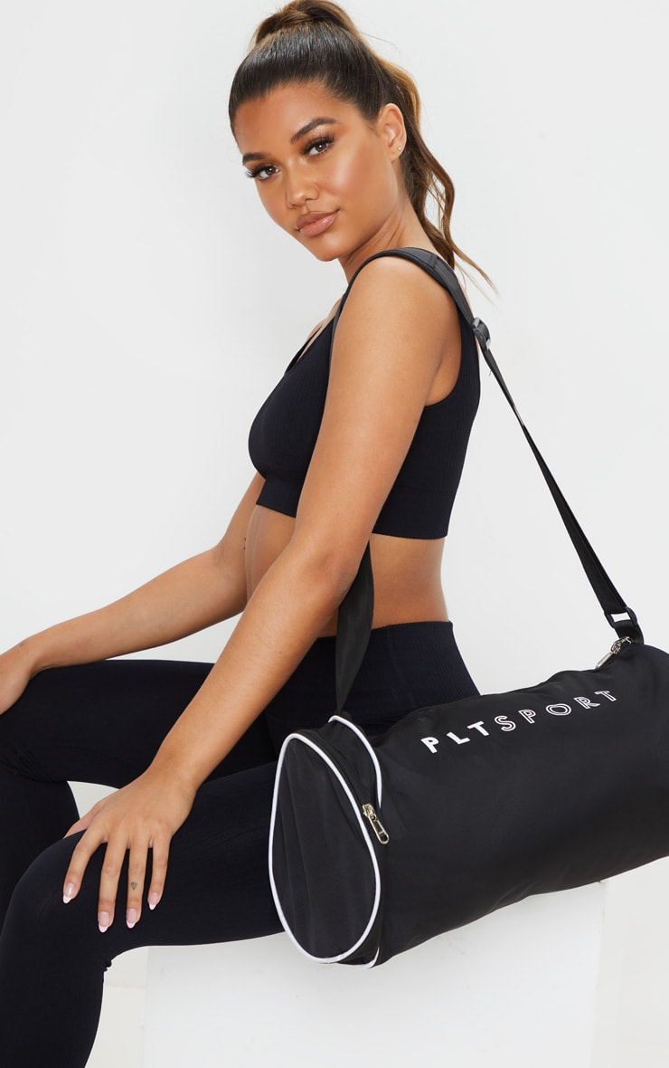 PRETTYLITTLETHING Black Sport Barrel Gym Bag 1