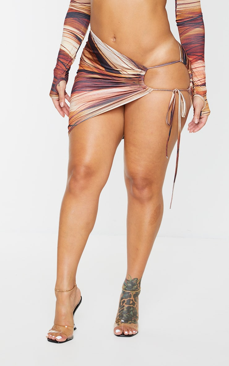 Shape Brown Layered Print Slinky Ruched Side Cut Out Bodycon Skirt 2