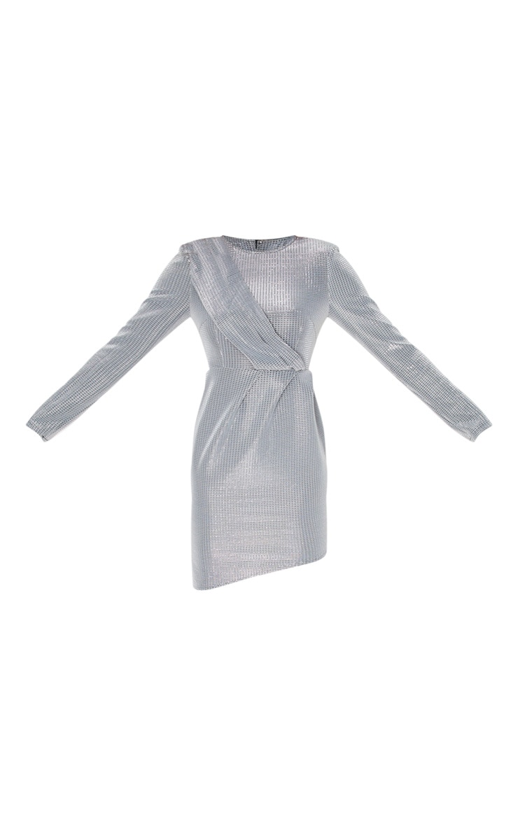 Robe moulante drapée argentée métallisée à paillettes 3