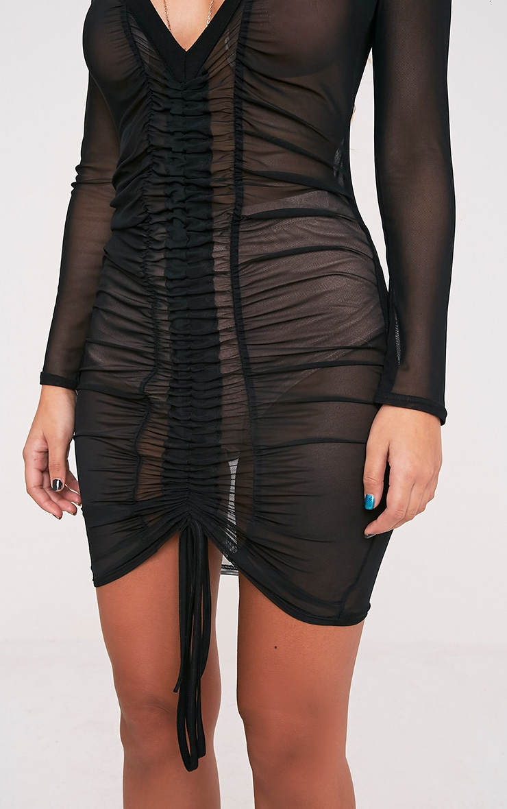 Lianna Mesh Ruched Black Bodycon Dress 6