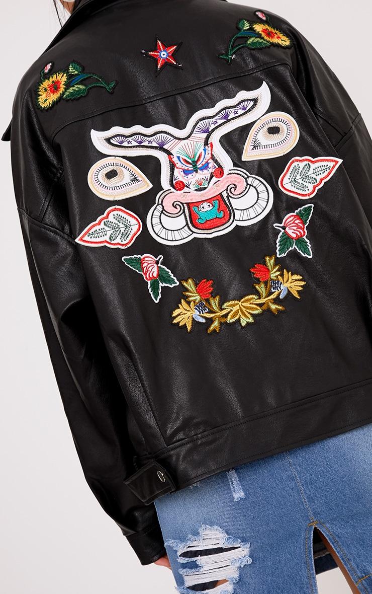 Aria Black Oversized Embroidered PU Jacket 5