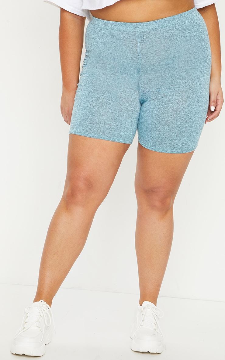 Plus Light Blue Brushed Marl Bike Shorts 2