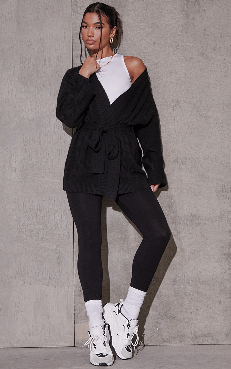 Black Recycled Cable Knit Oversized Cardigan 1