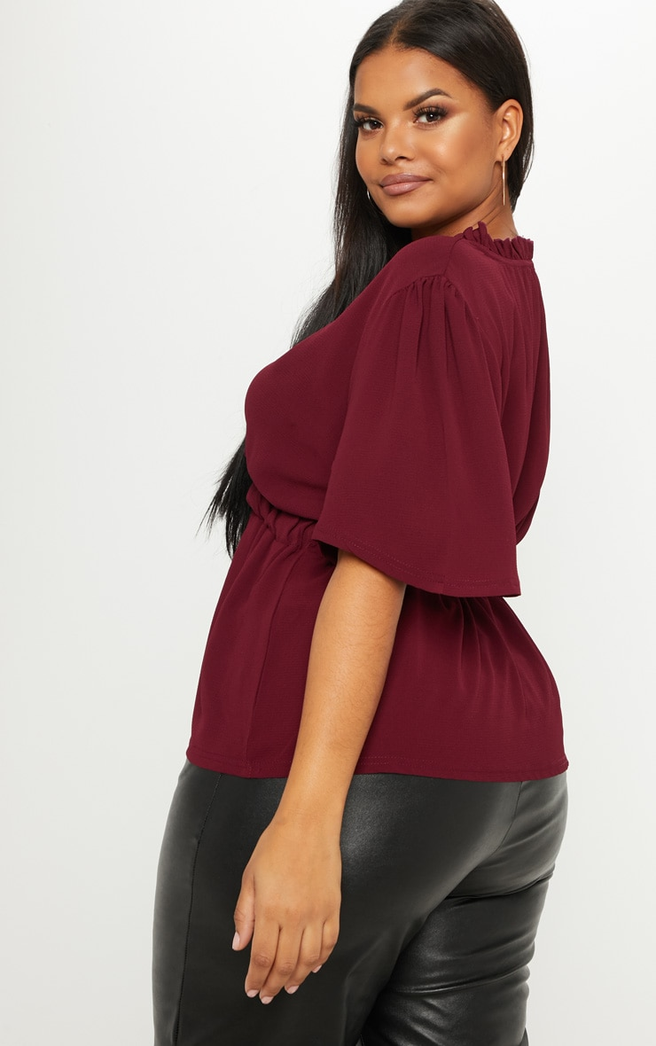 Plus Burgundy Frill Detail Wrap Top 2