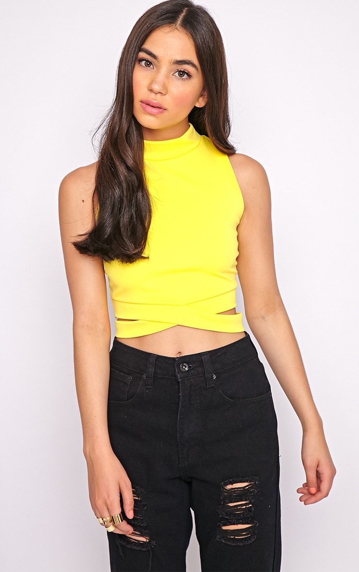 Selina Yellow Tie Front Crop Top -S/M 4