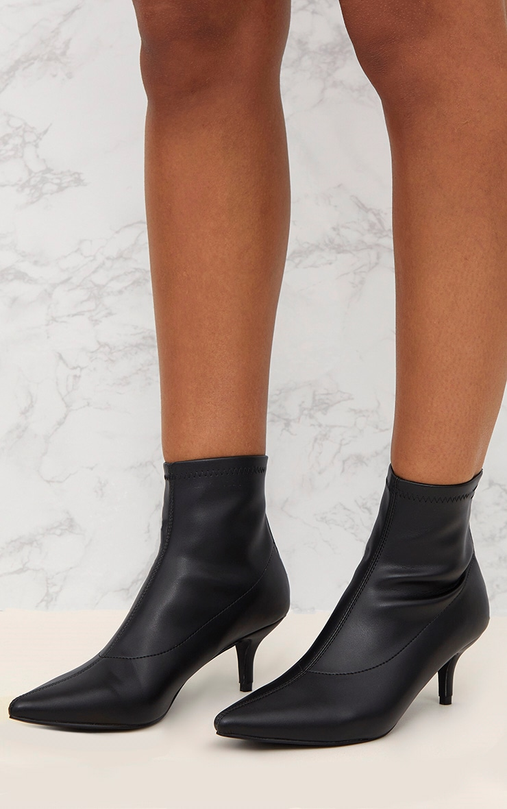 Black PU Low Heeled Ankle Boots 2