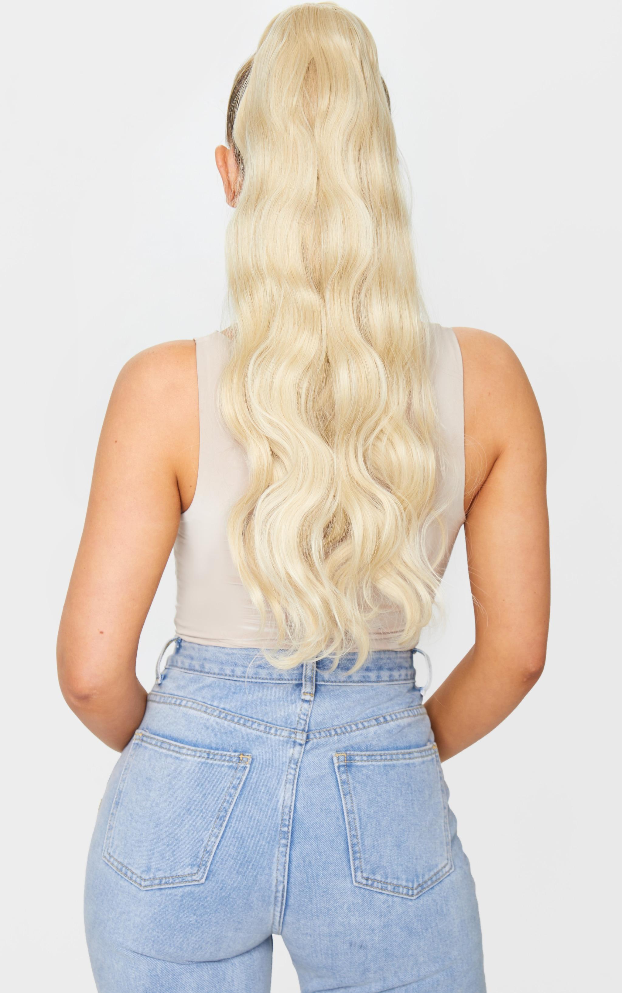 LullaBellz Grande Hollywood Wave 26 Wraparound Pony Light Blonde 3