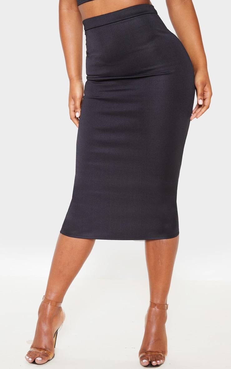Black High Stretch Midi Skirt 2
