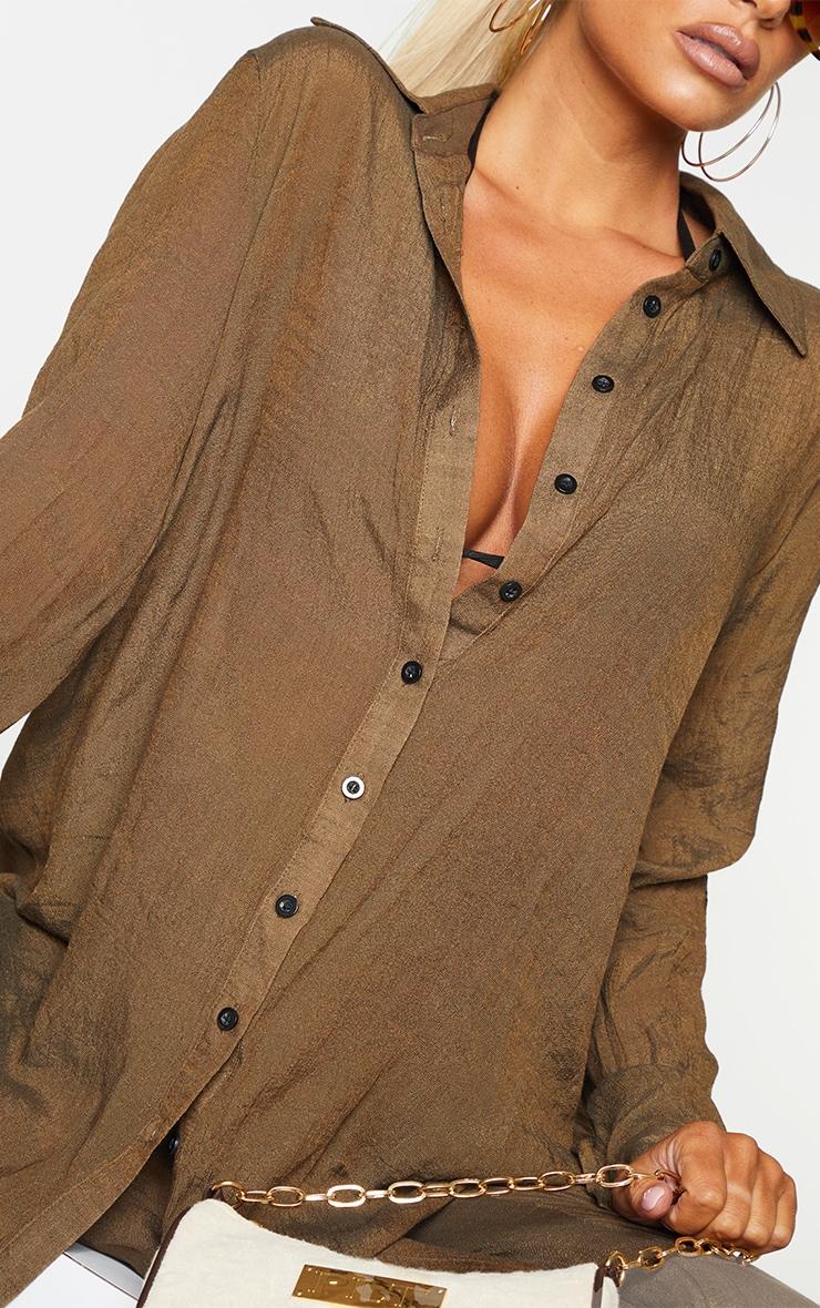 Brown Linen Look Beach Shirt 4