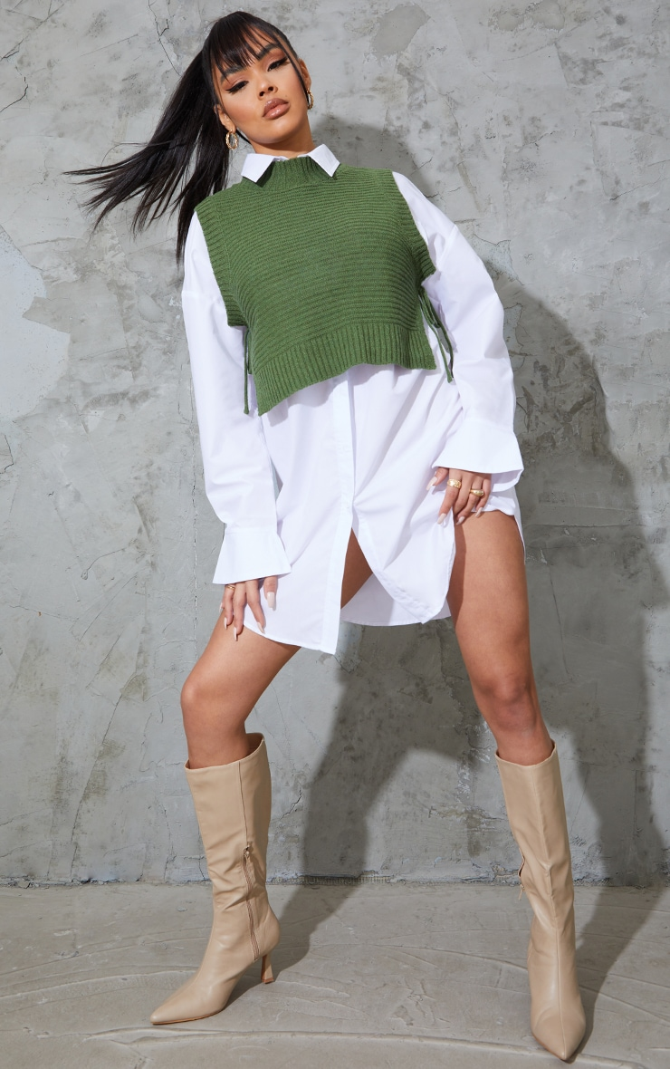 Khaki Tie Side Knitted Slouchy Top 3