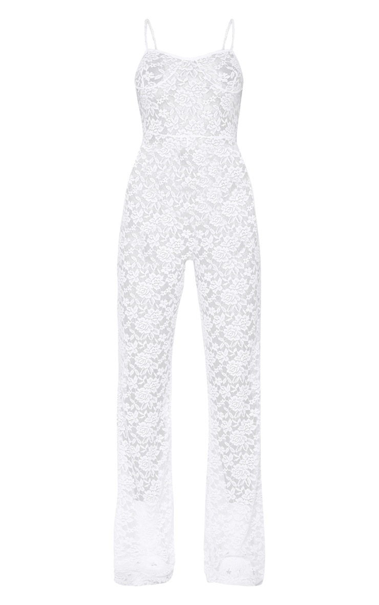 White Lace Straight Neck Jumpsuit 3