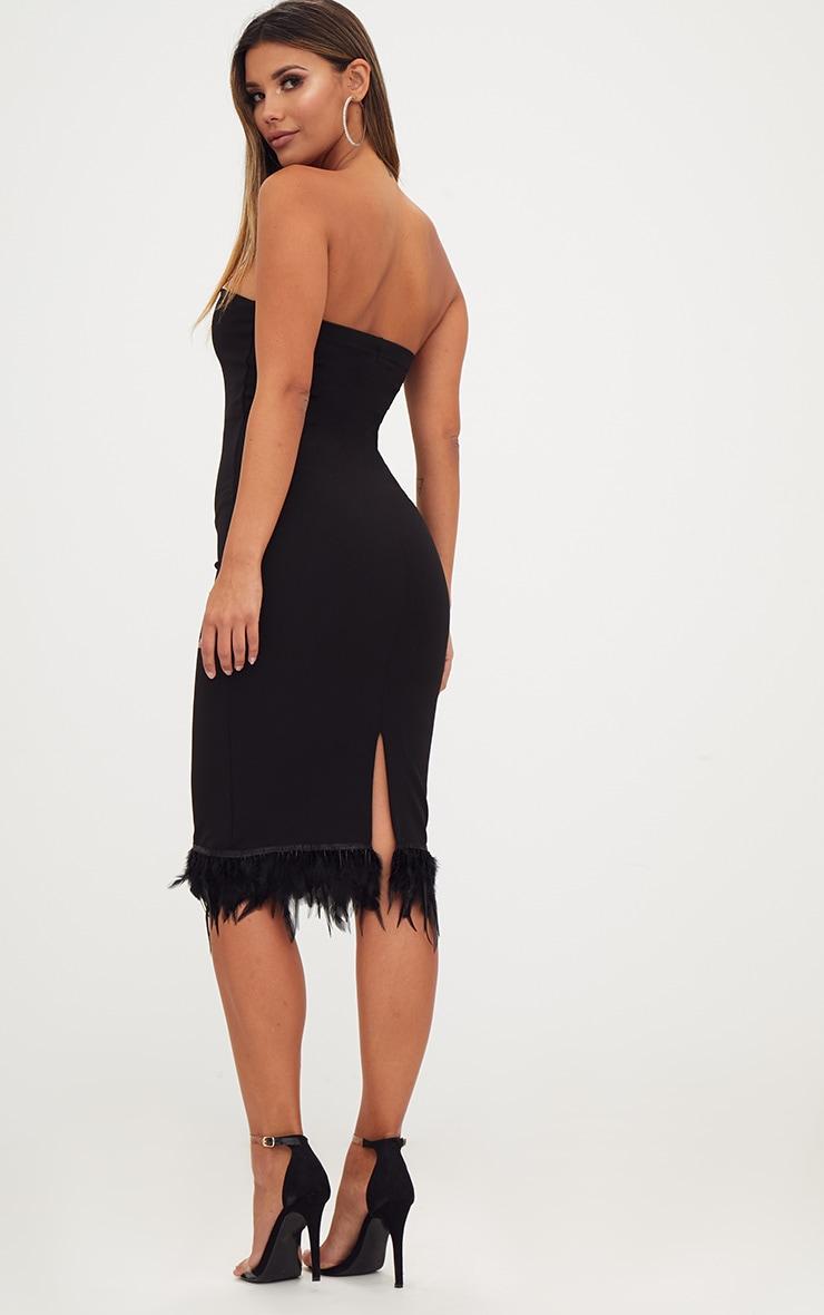 Black Bandeau Feather Hem Midi Dress 2